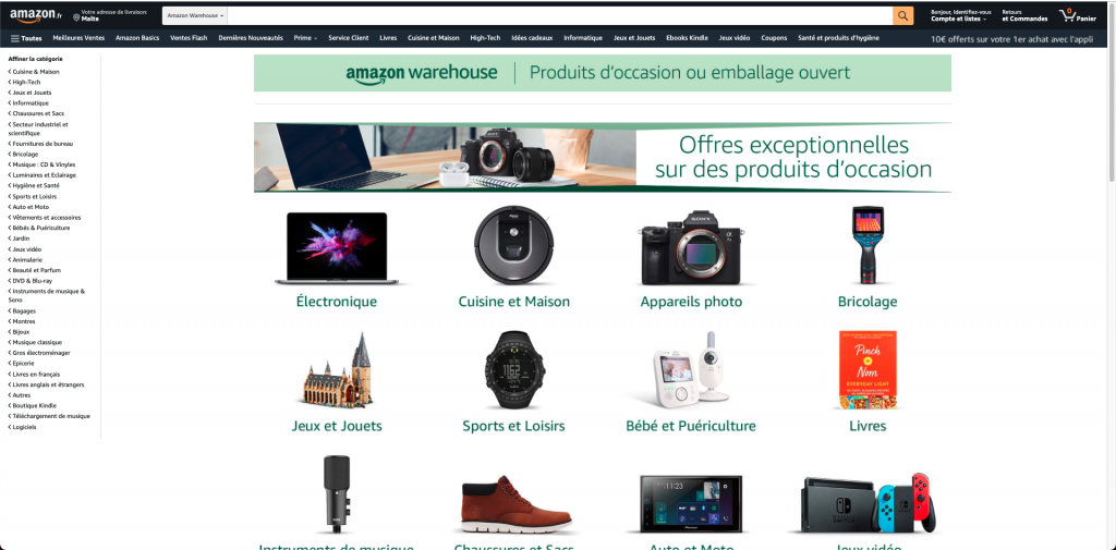 Amazon Warehouse page d'accueil