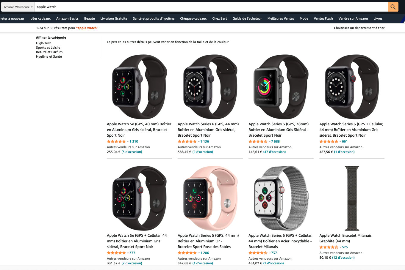 apple watch reconditionnée Amazon Warehouse