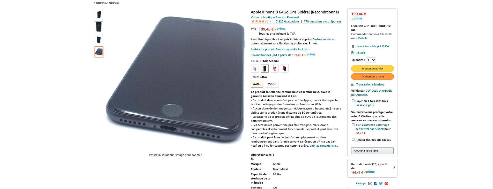 iPhone 8 reconditionné Amazon renewed