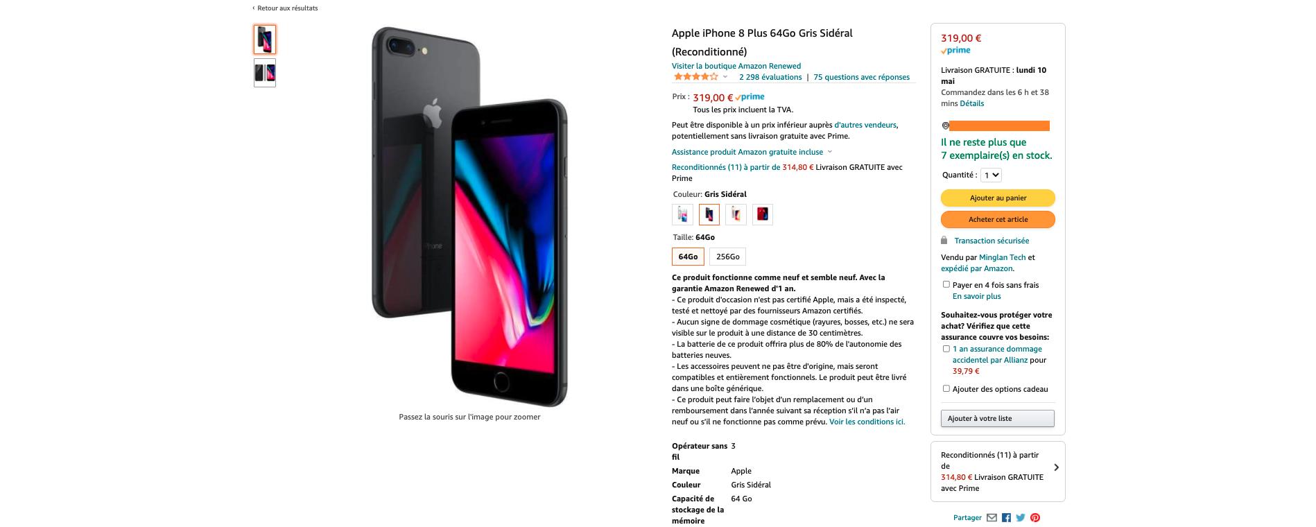 iPhone 8 reconditionné 8 Amazon renewed